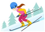 woman doing alpine skiing winter olympics clipart
